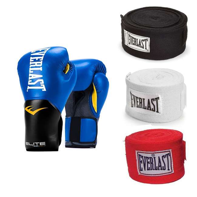 P00001206 + 4455-3 Everlast 16 Ounce Training Boxing Gloves, Blue & Hand Wraps (3 Pack)