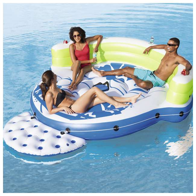 6 x 43120E-BW Bestway CoolerZ Kick Back Inflatable Island 3-Person Pool Float (6 Pack) 3