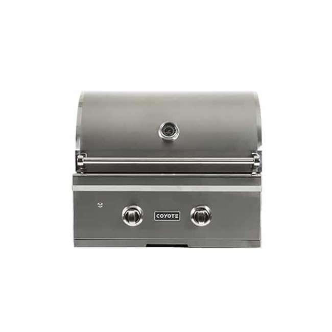 C1C28LP-FS Coyote Outdoor 28 Inch 2 Burner Freestanding Portable Propane Gas Grill, Silver 2