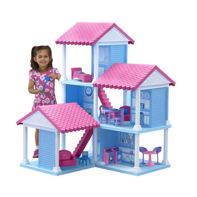 APT-90750 American Plastic Toys Fashion Doll Delightful Doll House w/ 25 Furniture Pieces 2