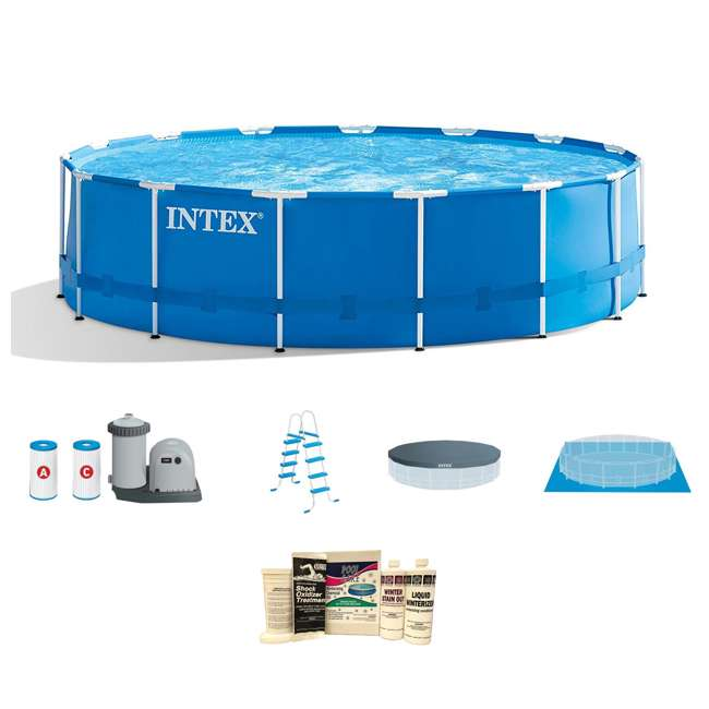 28253EH + QLC-57610 Intex 18' x 4' Frame Above Ground Pool w/ Pump, Ladder, Cover, & Winterizing Kit