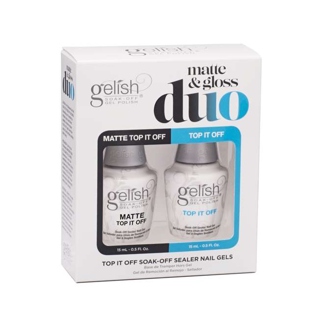 1121519-TOPOFFDUO Gelish Matte & Gloss Duo Top It Off Soak Off Gel Nail Polish Sealer Clear Coat