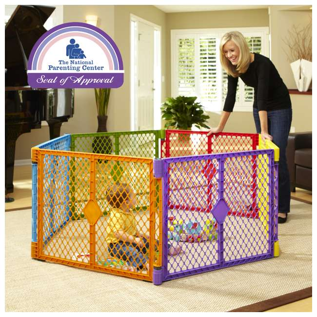 8769 + NS-8910 North States Color 6-Panel Superyard Baby/Pet Gate + Folding ABC Baby Play Mat 3