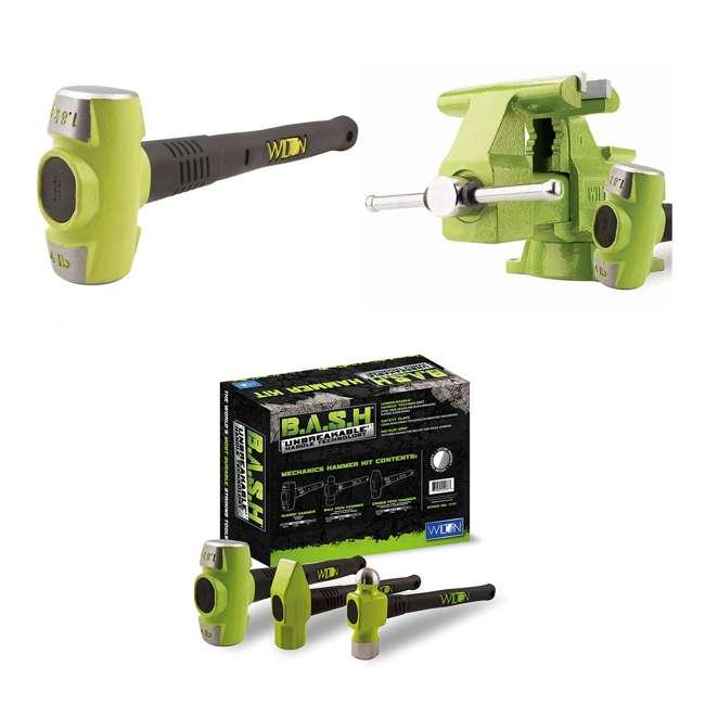 JPW-11128BH + JPW-11111 Wilton Bash 6.5 Inch Vise And 12 Inch Hammer + 3 Piece Mechanics Hammer Set
