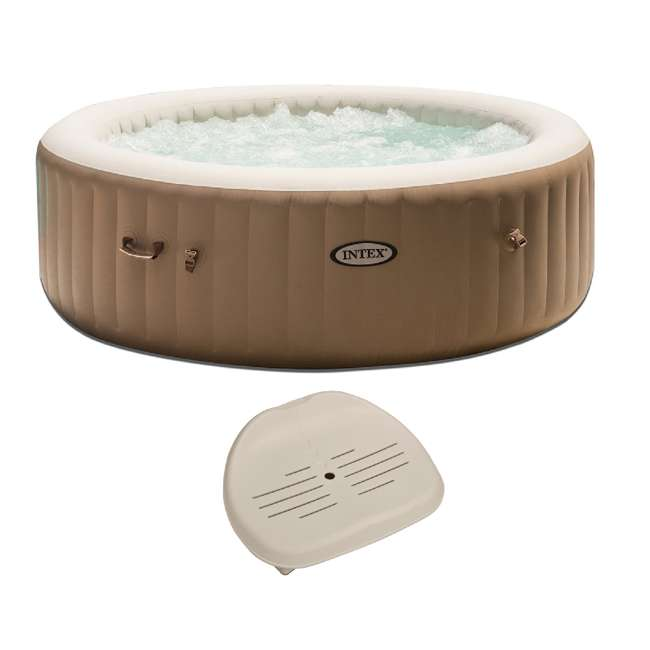 28407E + 28502E Intex PureSpa 85 Inch 6 Person Inflatable Round Hot Tub & Inflatable Seat
