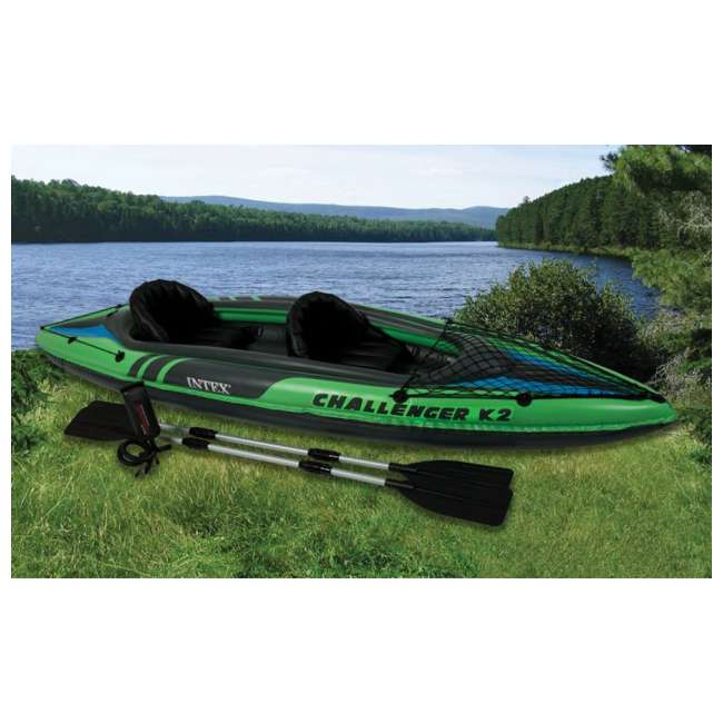 68306EP-U-B Intex Challenger K2 Two Person Inflatable Kayak Kit w/ Oars Pump - (Used)