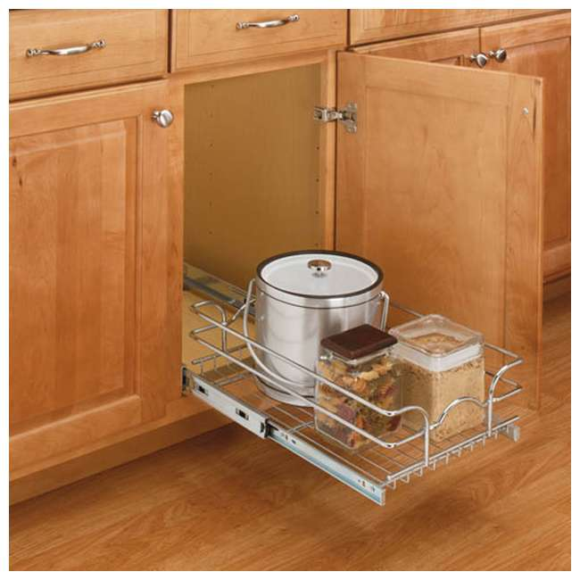 5WB1-1222-CR Rev-A-Shelf 12 Inch Wide 22 Inch Deep Base Kitchen Cabinet Pull Out Wire Basket 3