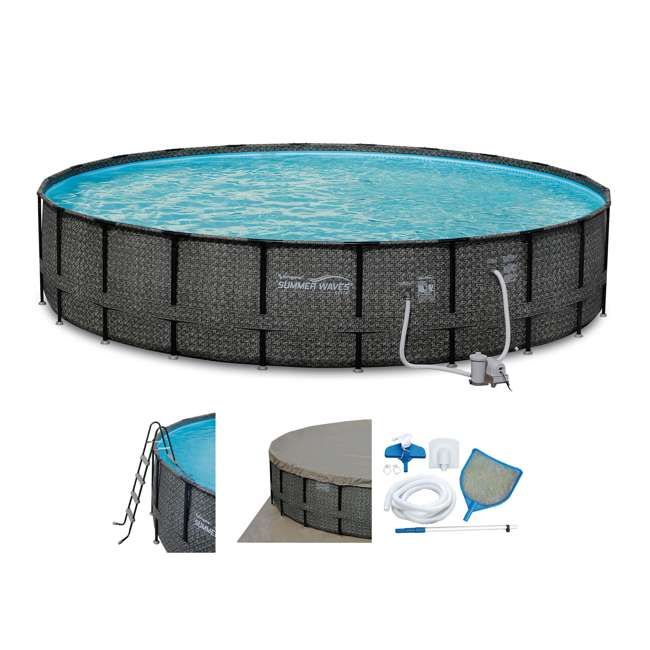 P4A02252B167 + 2 x K10427000167 Summer Waves 22 Ft Above Ground Pool Set + Giant Donut Inflatable Float (2 Pack) 1