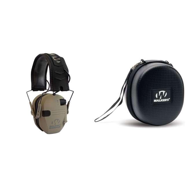 GWP-RSEM-MFDE + GWP-REMSC Walker's Razor Electronic Shooting Ear Muffs, Dark Earth & Storage Case, Black