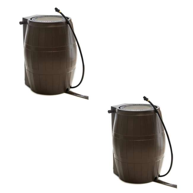 RC4000-BRN FCMP Outdoor RC4000-BRN 45-Gal BPA Free Home Rain Water Catcher Barrel (2 Pack)