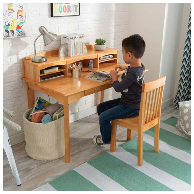 26707 KidKraft Avalon Wooden Kids Room Study Desk with Hutch & Chair Set, Natural 8