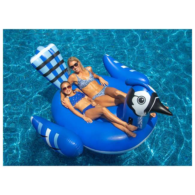 SL-90720M-U-A Swimline Giant Inflatable Blue Jay Swimming Pool Ride-On Float (Open Box) 6