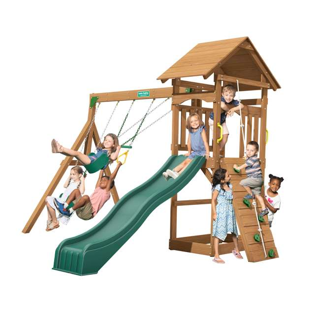 PS18RAL Creative Playthings PS18RAL Raleigh Kids Wooden Outdoor Swing Set Playground