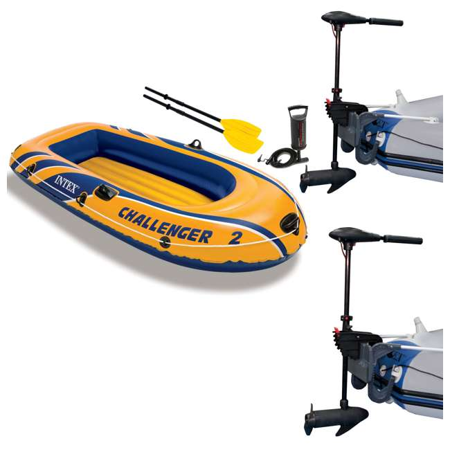 68367EP + 2 x 68631E Intex Challenger 2 Inflatable Raft Set & 2 Trolling Motors
