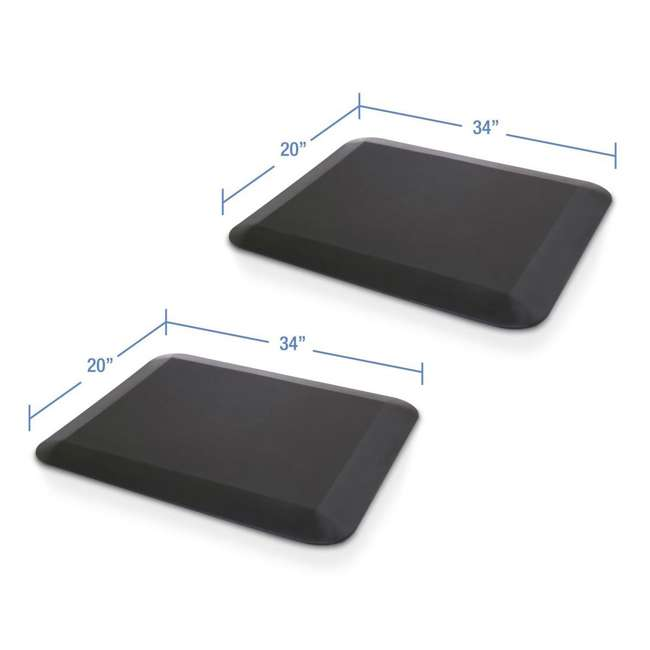 AFM - Flat LifeSpan 34 x 20-Inch Home Office Non-Slip Standing Mat, Black (2 Pack)