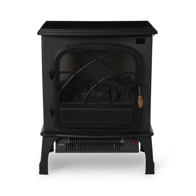 LIM-19-100005 Limina Indoor Electric 1500W Stove Fireplace Infrared Quartz Space Heater, Black 2