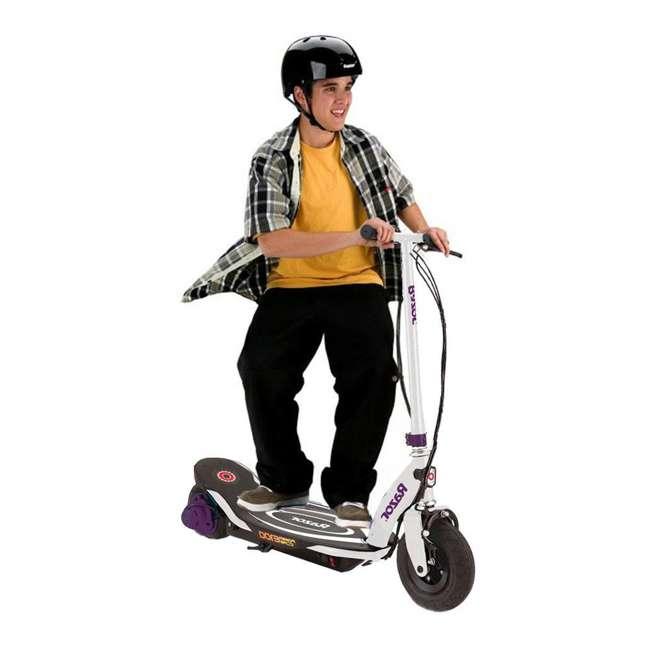 13111211 + 97913 Razor E100 Electric Hub Kids Motorized Kick Scooter With Splatter Bike Helmet 3