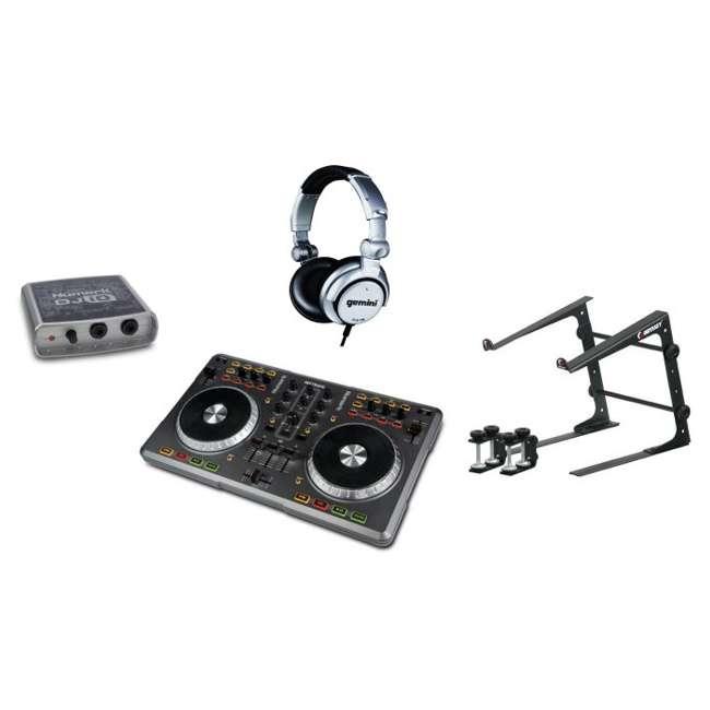 Mixtrack with Virtual DJ - NUMARK DJ USB/MIDI Controller + DJ/iO Audio +  Laptop Stand + Headphones