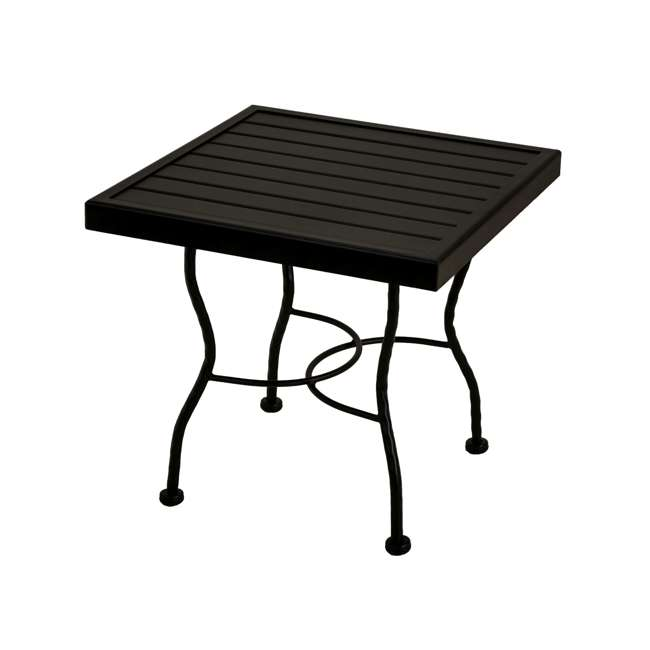 6712370-0105 + 7762499-0105 Meadowcraft Powder Coated Wrought Iron Patio End Table Base + 24 Inch Table Top