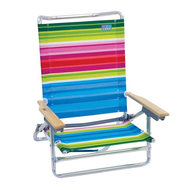 ASC590-1803-1 Rio Classic 5 Position Aluminum Lay Flat Folding Beach Lounge Chair, Beach Club