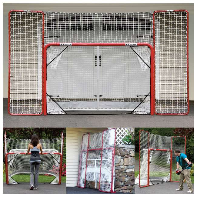 NEOP-67008 EZ Goal Portable Folding Regulation Size Hockey Training Goal Net with Backstop 1