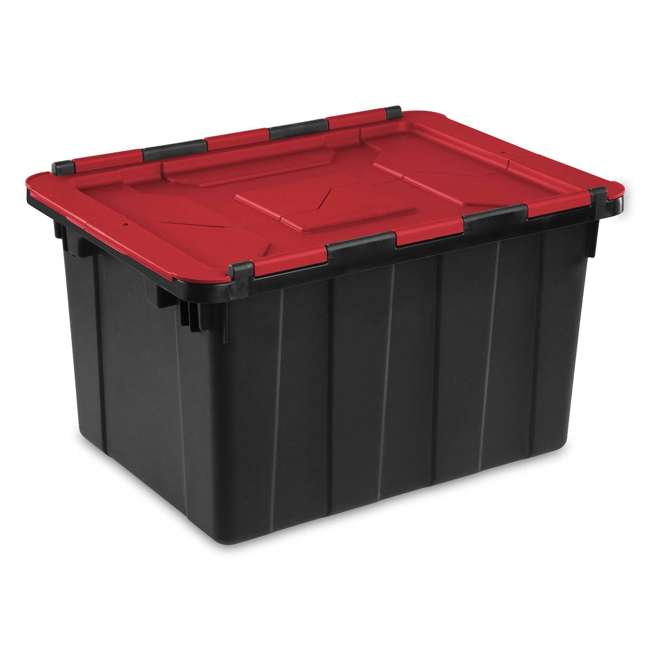 18 x 14619006 Sterilite 12 Gallon/45 Liter Hinged Lid Tote, Red Lid (Open Box) (18 Pack)