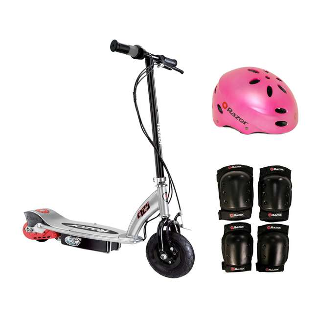13125E-BK + 97783 + 96784 Razor E125 Electric Motorized Scooter, With Youth Helmet, Elbow & Knee Pad Set