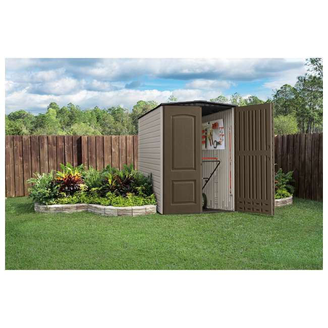 1967674 + 2024654 + 2024656 + 2024651 Rubbermaid 5'x6' Outdoor Gardening & Tools Vertical Storage Shed and Accessories 3