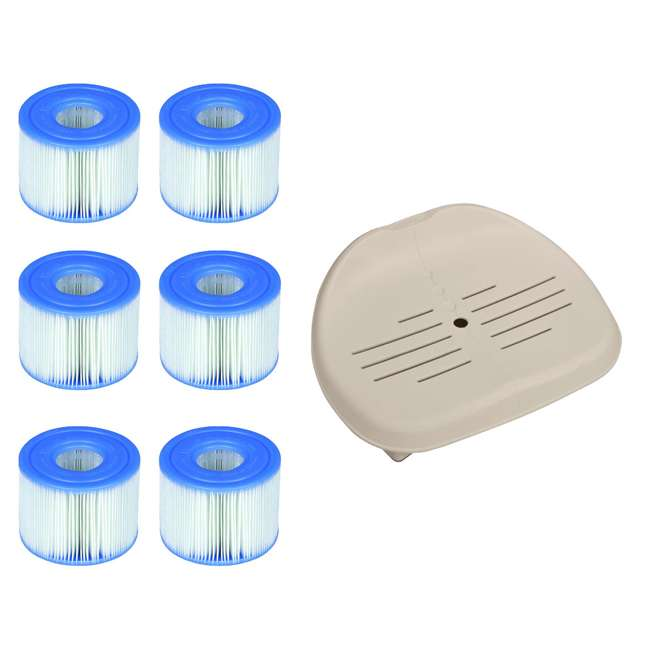 28502E + 3 x 29001E Intex Seat for Inflatable PureSpa Hot Tub & S1 Filter Cartridges (6 Pack)