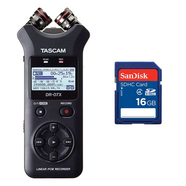DR-07X + SD4-16GB-SAN Tascam DR-07X Stereo Handheld Digital Audio Recorder + 16GB SD Memory Card
