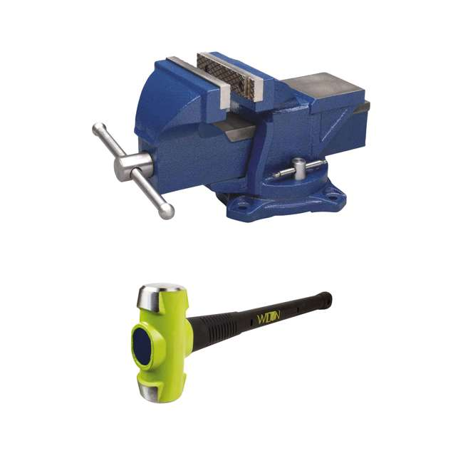 WIL-11104 + JPW-21036 Wilton 4 Inch Anvil Work Bench Vise + Sledge Hammer with 10 Pound Head