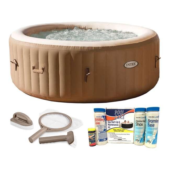 28403E + 28004E + QLC-14888 Intex PureSpa 4-Person Hot Tub with Maintenance & Chemical Kits