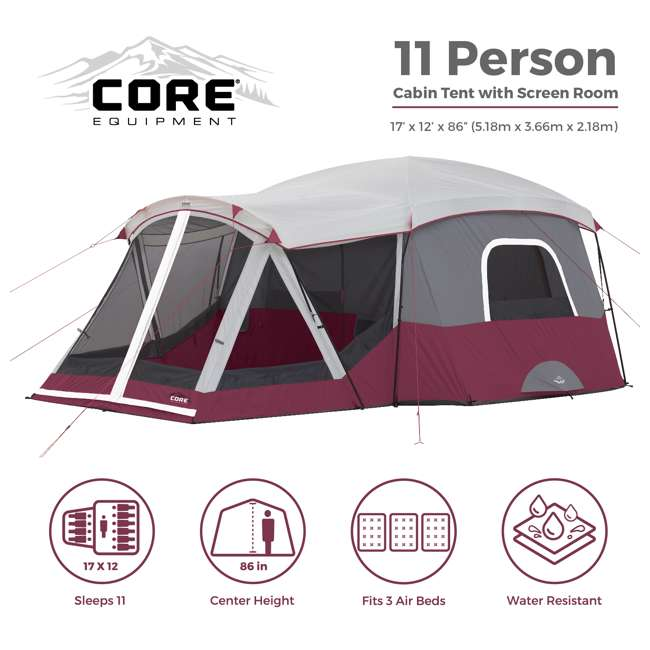 CORE-40072 CORE 40072 11-Person Family Camping Cabin Tent with Screen Room 1