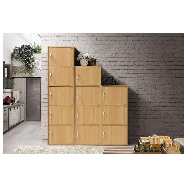 HID3 BEECH Hodedah 3 Door Enclosed Multipurpose Storage Cabinet for Home or Office, Beech 4