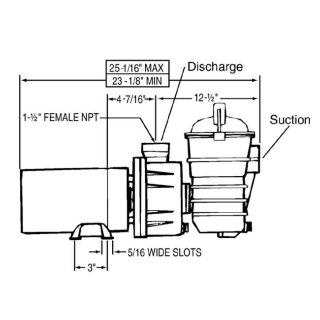 340189 Pentair 340189 DYNII-N1 Dynamo 1 HP 115V 1 Speed Above Ground Pool Pump w/ Cord 2