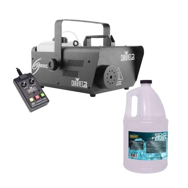 H1600 + FJU Chauvet DJ Hurricane 1600 Fog Machine w/ Wired Remote + Fog Fluid