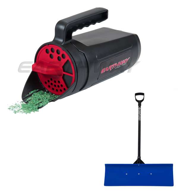 EWAY17002 + EWAY91030 Earthway Handheld Portable Earthshaker & Pro Snow Shovel with 30-Inch Wide Blade