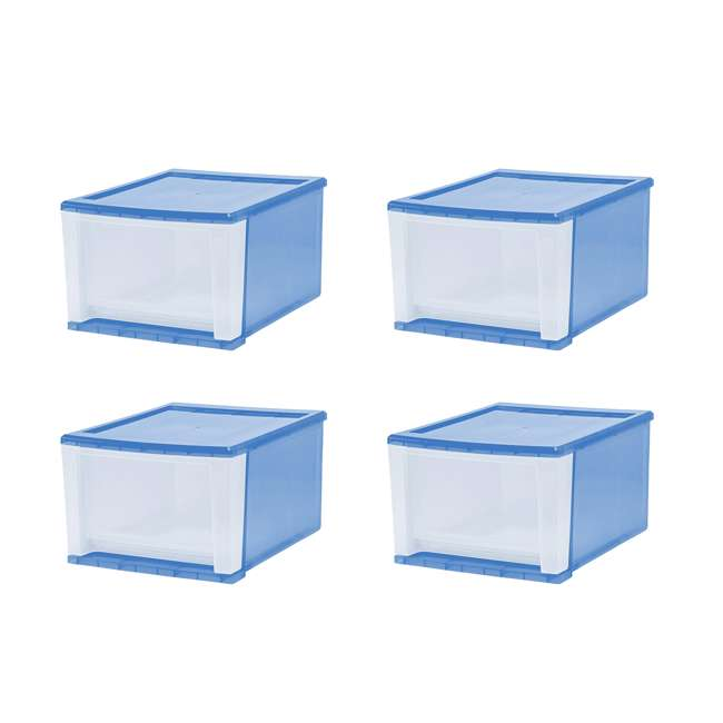 129834 IRIS 129834 Large 17 Qt Stackable Pull Out Clear Front Plastic Drawer, Pack of 4 1