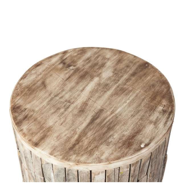 62420 Fire Sense Elyse Round Reclaimed Wood Garden & Patio Stool 1