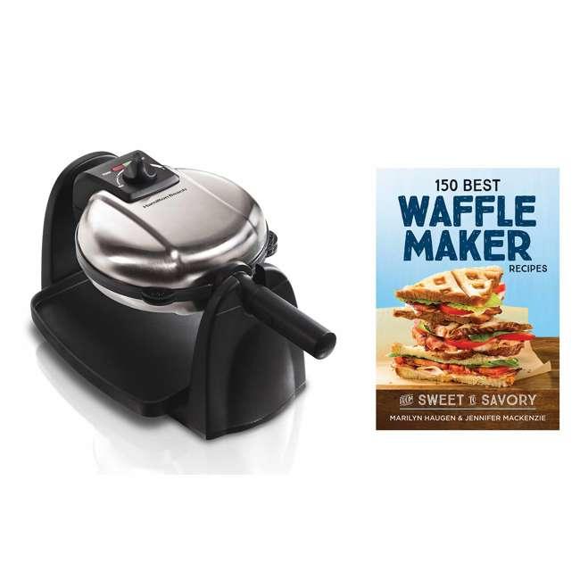 26030 + WAFFLE150 Hamilton Beach Removable Grid Belgian Waffle Maker & 150 Waffle Maker Recipes 1