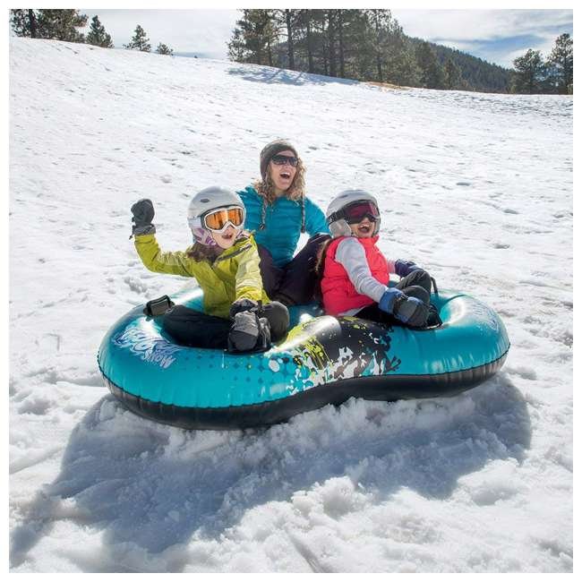 39052E-BW Bestway H2OGO Winter Rush Inflatable Durable Kids Double 2 Seat Snow Tube, Blue 4
