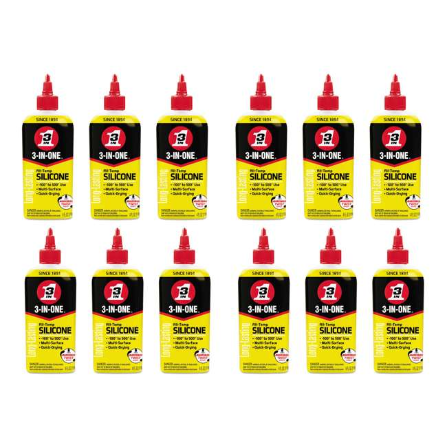 12 x WD-120008 3-In-One Long Lasting Multiple Surface Quick Dry Professional Silicone Lubricant (12 Pack)