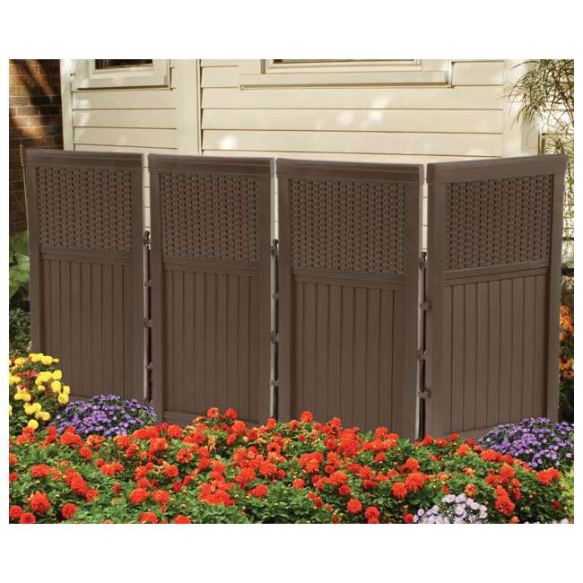 FSW4423 + DBW9200 Suncast Backyard Patio Screen Gate w/ Backyard Patio Garden Garage Wicker Resin 3
