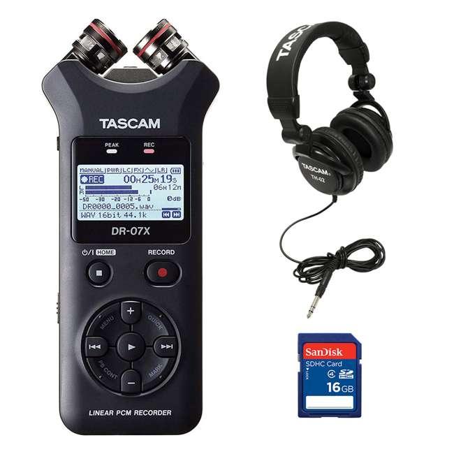 DR-07X + SD4-16GB-SAN + TH02-B Tascam Stereo Digital Audio Recorder + Memory Card + Home & Studio Headphones
