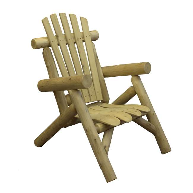 CF1126 Lakeland Mills Country Cedar Log Wood Outdoor Porch Patio Lounge Chair, Natural