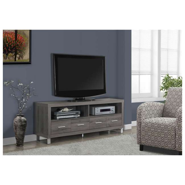 "MS-VM2517-U-B Monarch Specialties 60"" Entertainment TV Stand w/ 4 Drawers, Dark Taupe (Used) 2"