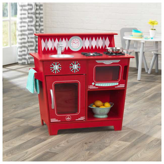 KDK-53362 KidKraft Classic Pretend Play Kitchenette Set, Red 1