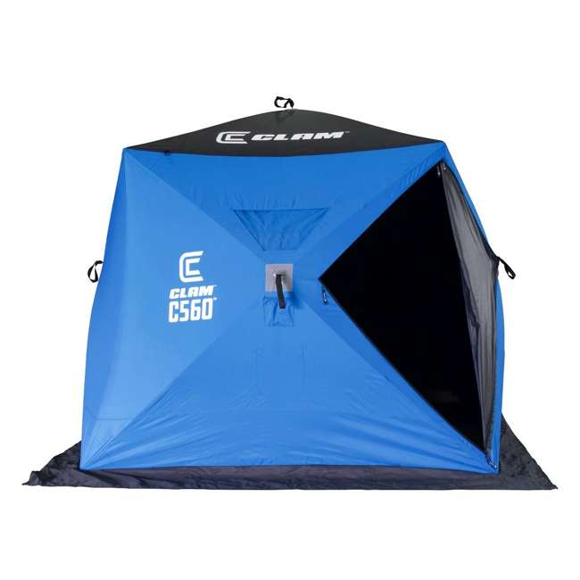 CLAM-14476 Clam 14476 C-560 Portable 7.5 Foot Pop Up Ice Fishing Angler Hub Shelter, Blue 1