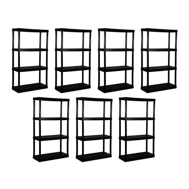 7 x GL91021MAXIT-1C-36 Gracious Living 4-Tier Resin Garage Storage Shelf, Black (7 Pack)