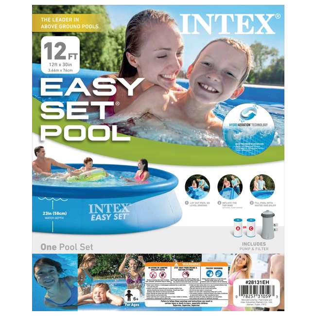 "28131EH-U-A Intex 12' x 30"" Easy Set Above Ground Swimming Pool & Pump (Open Box) (2 Pack) 7"